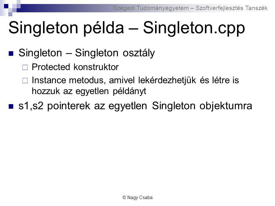 Szegedi Tudományegyetem – Szoftverfejlesztés Tanszék Singleton példa – Singleton.cpp Singleton – Singleton osztály  Protected konstruktor  Instance metodus, amivel lekérdezhetjük és létre is hozzuk az egyetlen példányt s1,s2 pointerek az egyetlen Singleton objektumra © Nagy Csaba