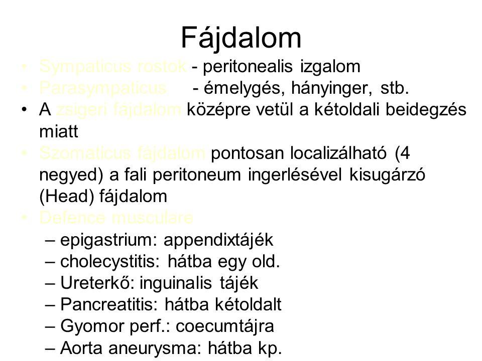 Az acut hasi katasztrófák leggyakoribb okai Gyomor-bél: –appendicitis –vékonybél-vastagbél ileus –kizáródott külső- és belső sérvek –perforatio spontán (ulcus) - eszközös –gyulladás –trauma –fejlődési rendellenesség (Meckel diverticulum) –IBD –Gastroenteritis –lymphadenitis –Mallory-Weiss syndroma –Boerhaave syndroma