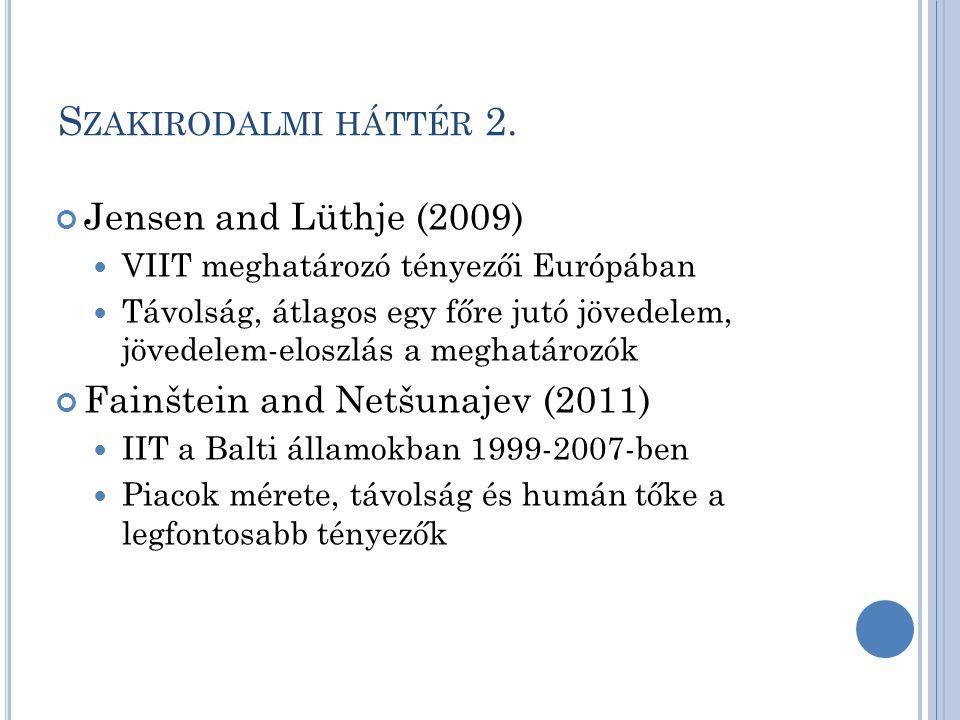 S ZAKIRODALMI HÁTTÉR 2. Jensen and Lüthje (2009) VIIT meghatározó tényezői Európában Távolság, átlagos egy főre jutó jövedelem, jövedelem-eloszlás a m