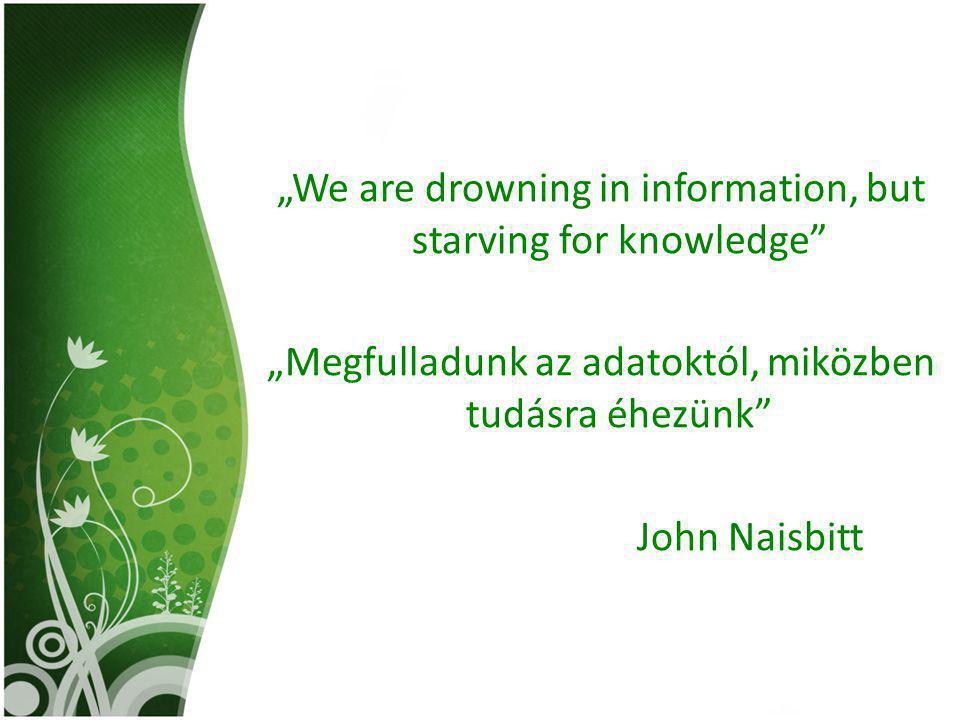 """""""We are drowning in information, but starving for knowledge"""" """"Megfulladunk az adatoktól, miközben tudásra éhezünk"""" John Naisbitt"""