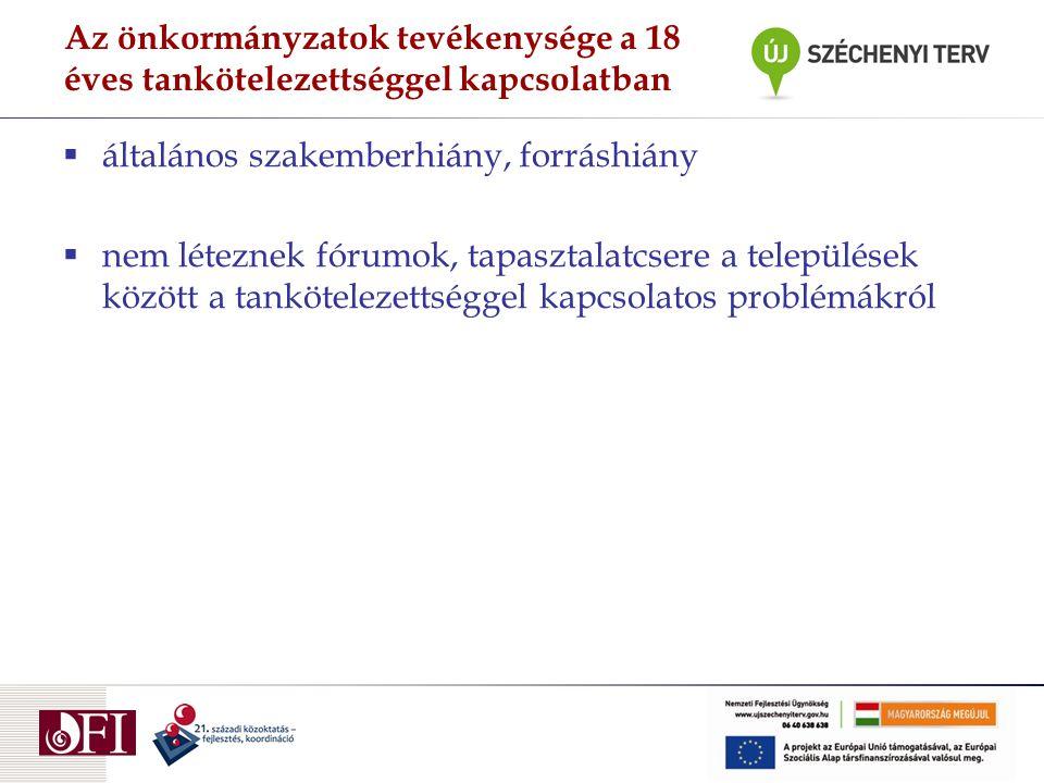 Az önkormányzatok tevékenysége a 18 éves tankötelezettséggel kapcsolatban  általános szakemberhiány, forráshiány  nem léteznek fórumok, tapasztalatc