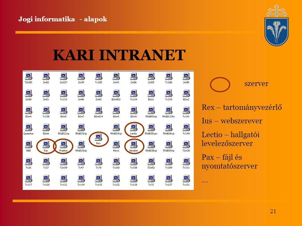 21 KARI INTRANET szerver Rex – tartományvezérlő Ius – webszerever Lectio – hallgatói levelezőszerver Pax – fájl és nyomtatószerver... Jogi informatika