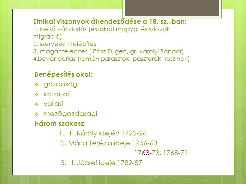 Etnikai viszonyok átrendeződése a 18. sz.-ban: 1. belső vándorlás (északról magyar és szlovák migráció) 2. szervezett telepítés 3. magántelepítés ( Pr