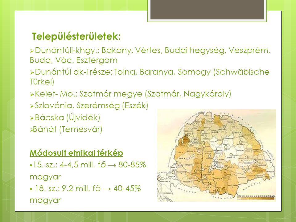 Településterületek:  Dunántúli-khgy.: Bakony, Vértes, Budai hegység, Veszprém, Buda, Vác, Esztergom  Dunántúl dk-i része: Tolna, Baranya, Somogy (Sc