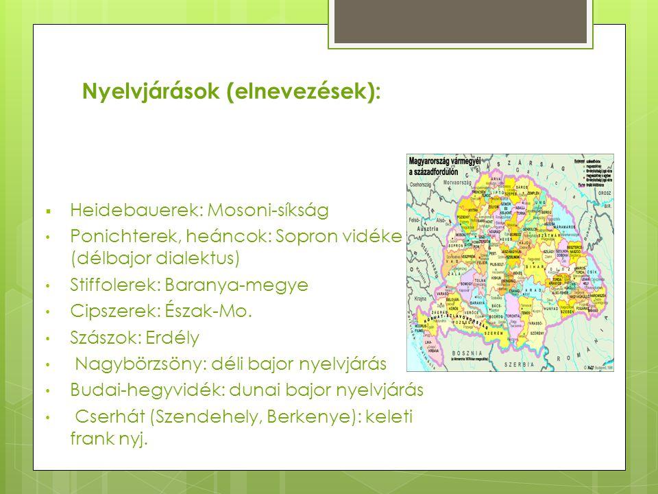 Nyelvjárások (elnevezések):  Heidebauerek: Mosoni-síkság Ponichterek, heáncok: Sopron vidéke (délbajor dialektus) Stiffolerek: Baranya-megye Cipszere