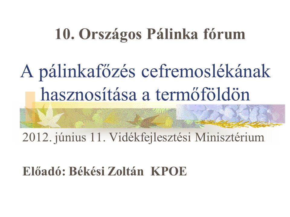 A pálinkafőzés cefremoslékának hasznosítása a termőföldön 2012. június 11. Vidékfejlesztési Minisztérium Előadó: Békési Zoltán KPOE 10. Országos Pálin