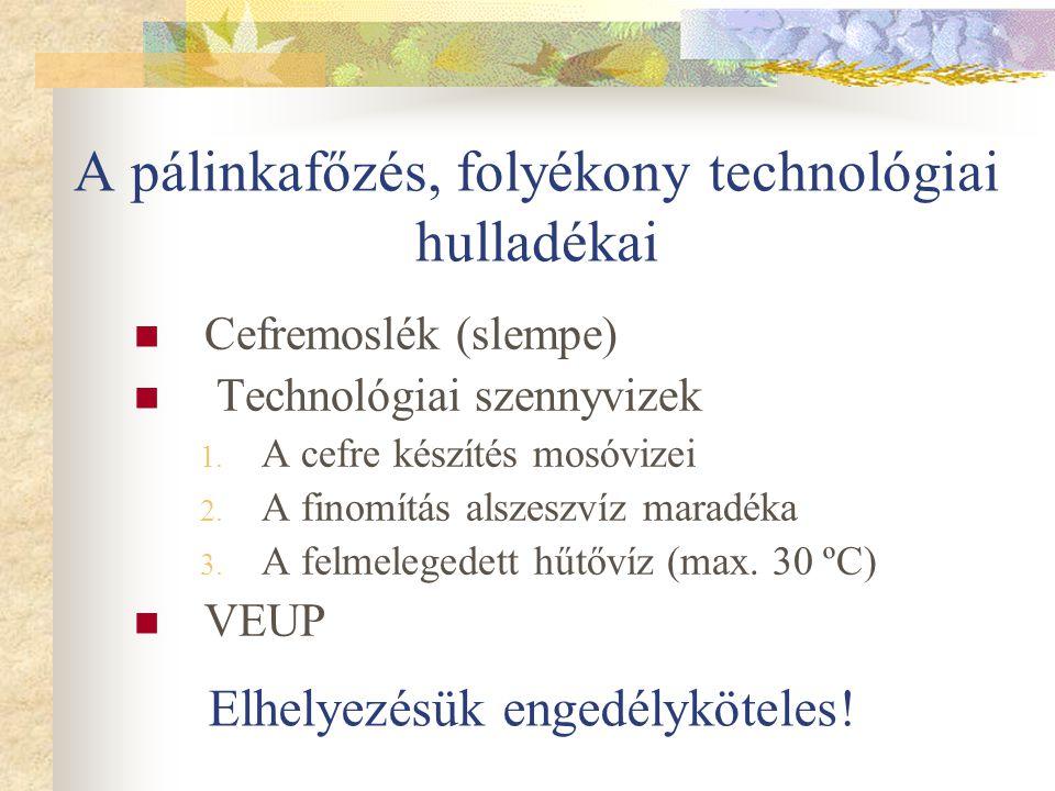 A pálinkafőzés, folyékony technológiai hulladékai Cefremoslék (slempe) Technológiai szennyvizek 1. A cefre készítés mosóvizei 2. A finomítás alszeszví