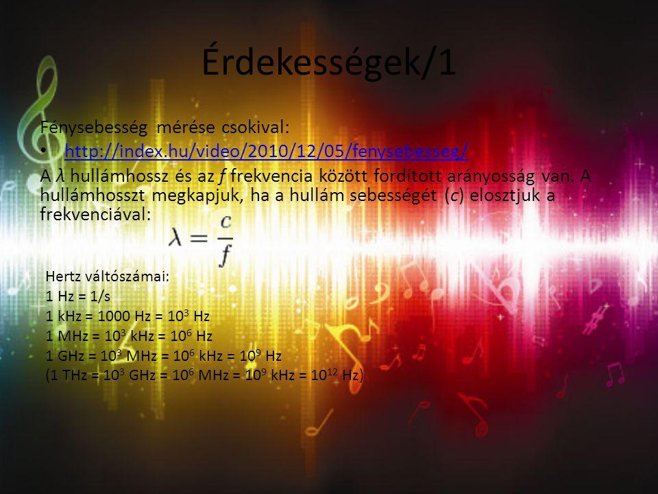 Érdekességek/1 Fénysebesség mérése csokival: http://index.hu/video/2010/12/05/fenysebesseg/ A λ hullámhossz és az f frekvencia között fordított arányosság van.