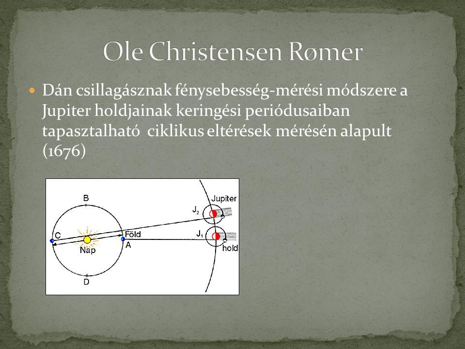 Dán csillagásznak fénysebesség-mérési módszere a Jupiter holdjainak keringési periódusaiban tapasztalható ciklikus eltérések mérésén alapult (1676)