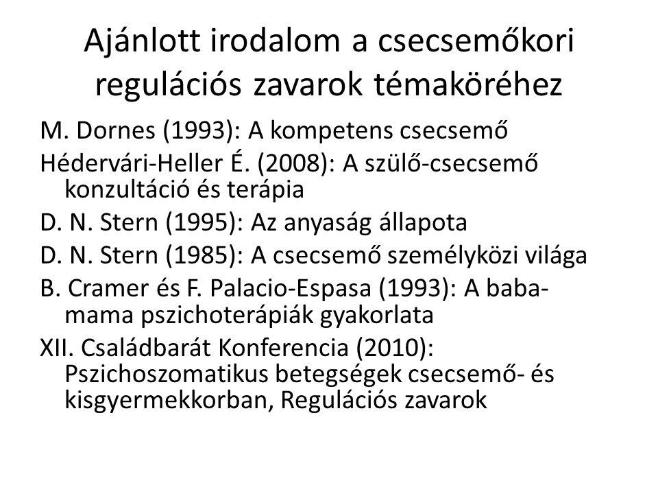 Ajánlott irodalom a csecsemőkori regulációs zavarok témaköréhez M. Dornes (1993): A kompetens csecsemő Hédervári-Heller É. (2008): A szülő-csecsemő ko
