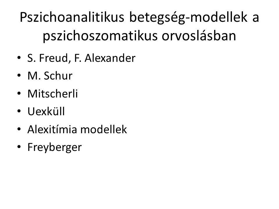 Pszichoanalitikus betegség-modellek a pszichoszomatikus orvoslásban S. Freud, F. Alexander M. Schur Mitscherli Uexküll Alexitímia modellek Freyberger