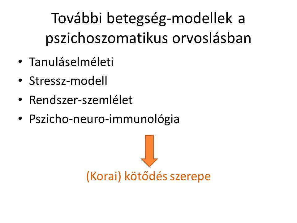 További betegség-modellek a pszichoszomatikus orvoslásban Tanuláselméleti Stressz-modell Rendszer-szemlélet Pszicho-neuro-immunológia (Korai) kötődés