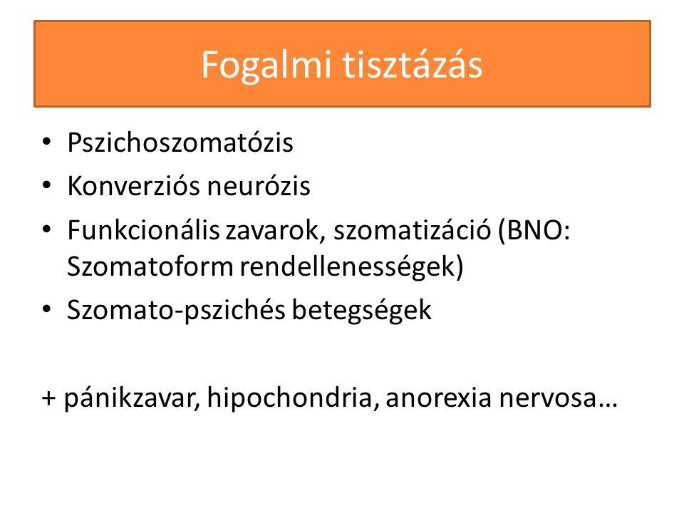 Fogalmi tisztázás Pszichoszomatózis Konverziós neurózis Funkcionális zavarok, szomatizáció (BNO: Szomatoform rendellenességek) Szomato-pszichés betegs