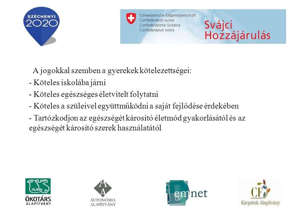 A jogokkal szemben a gyerekek kötelezettségei: - Köteles iskolába járni - Köteles egészséges életvitelt folytatni - Köteles a szüleivel együttműködni