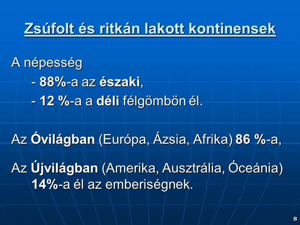 8 Zsúfolt és ritkán lakott kontinensek A népesség - 88%-a az északi, - 12 %-a a déli félgömbön él. Az Óvilágban (Európa, Ázsia, Afrika) 86 %-a, Az Újv