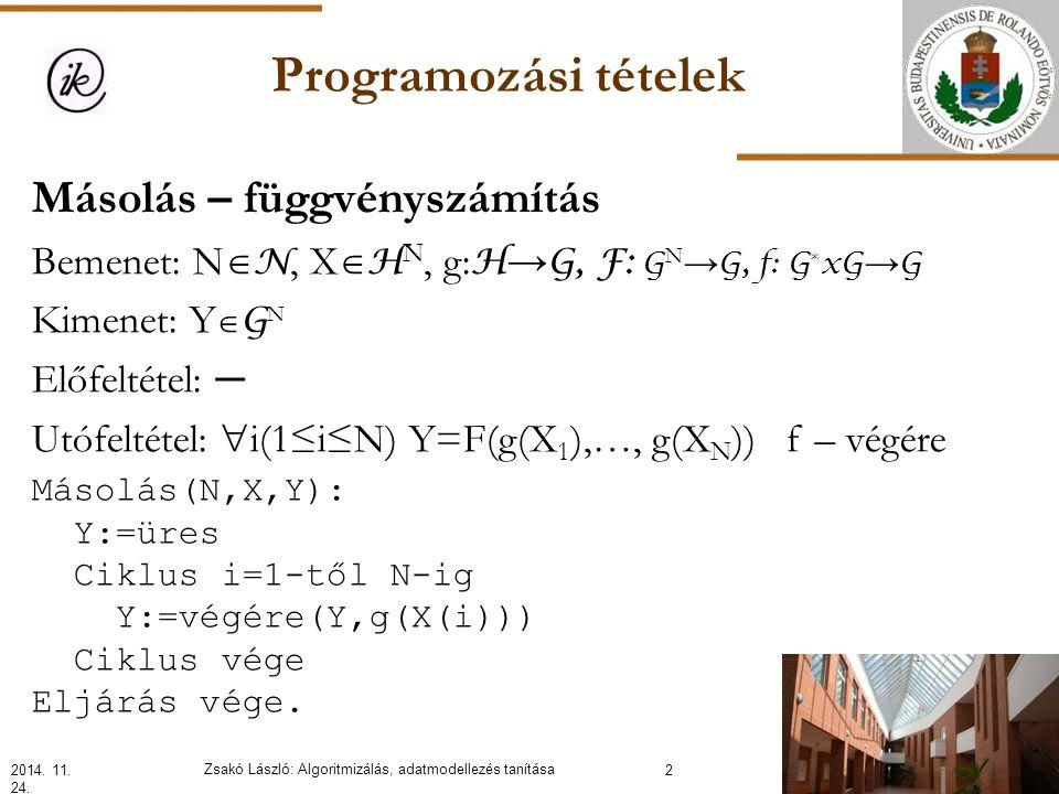 Programozási tételek Másolás – függvényszámítás Bemenet: N  N, X  H N, g: H → G, F: G N → G, f: G * xG → G Kimenet: Y  G N Előfeltétel: ─ Utófeltétel:  i(1≤i≤N) Y=F(g(X 1 ),…, g(X N )) f – végére 2014.