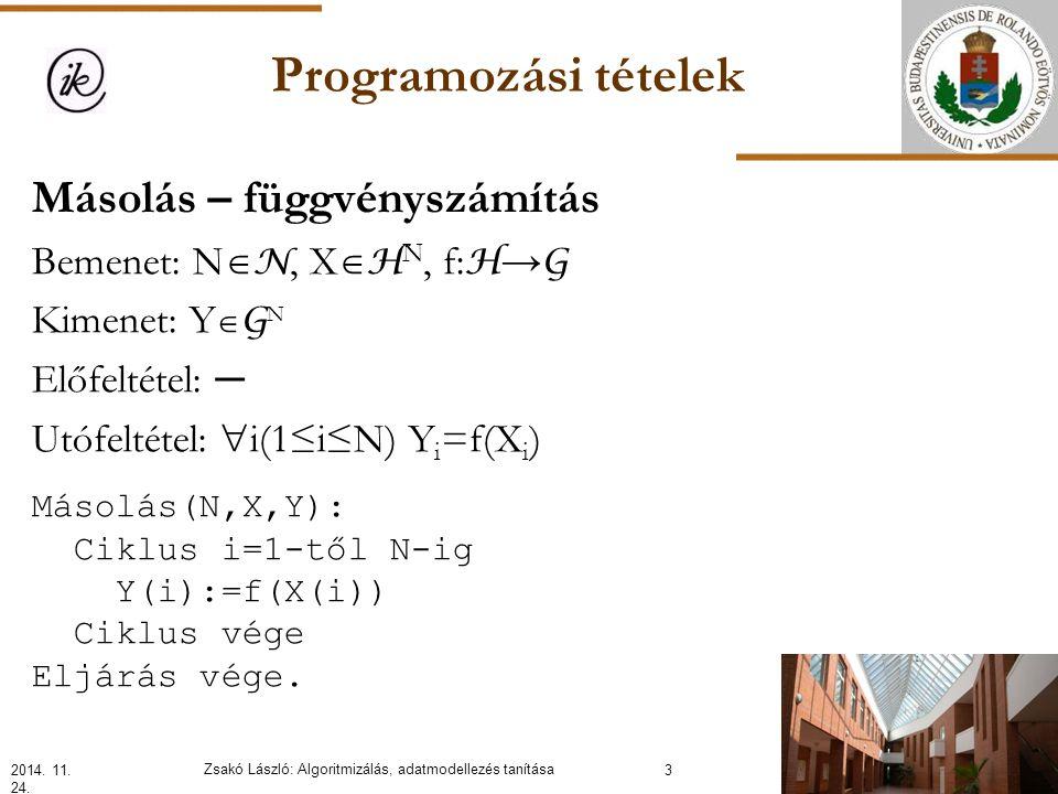 Programozási tételek Másolás – függvényszámítás Bemenet: N  N, X  H N, f: H → G Kimenet: Y  G N Előfeltétel: ─ Utófeltétel:  i(1≤i≤N) Y i =f(X i ) 2014.