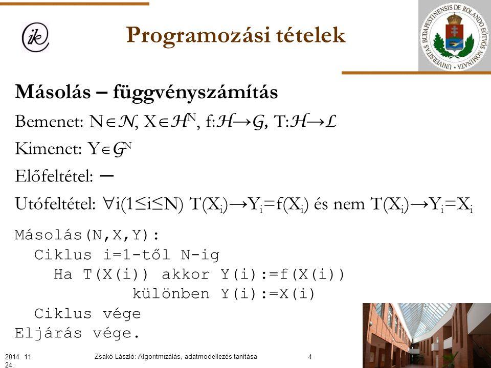Programozási tételek Másolás – függvényszámítás Bemenet: N  N, X  H N, f: H → G, T: H → L Kimenet: Y  G N Előfeltétel: ─ Utófeltétel:  i(1≤i≤N) T(X i )→Y i =f(X i ) és nem T(X i )→Y i =X i 2014.