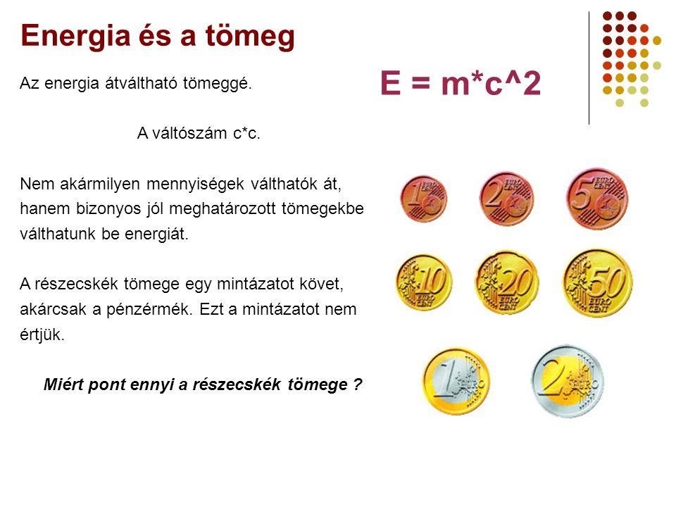 Energia és a tömeg E = m*c^2 Az energia átváltható tömeggé.