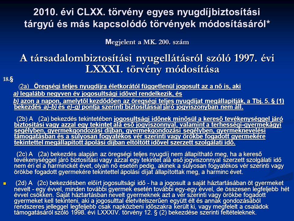 2010. évi CLXX. törvény egyes nyugdíjbiztosítási tárgyú és más kapcsolódó törvények módosításáról* M egjelent a MK. 200. szám A társadalombiztosítási