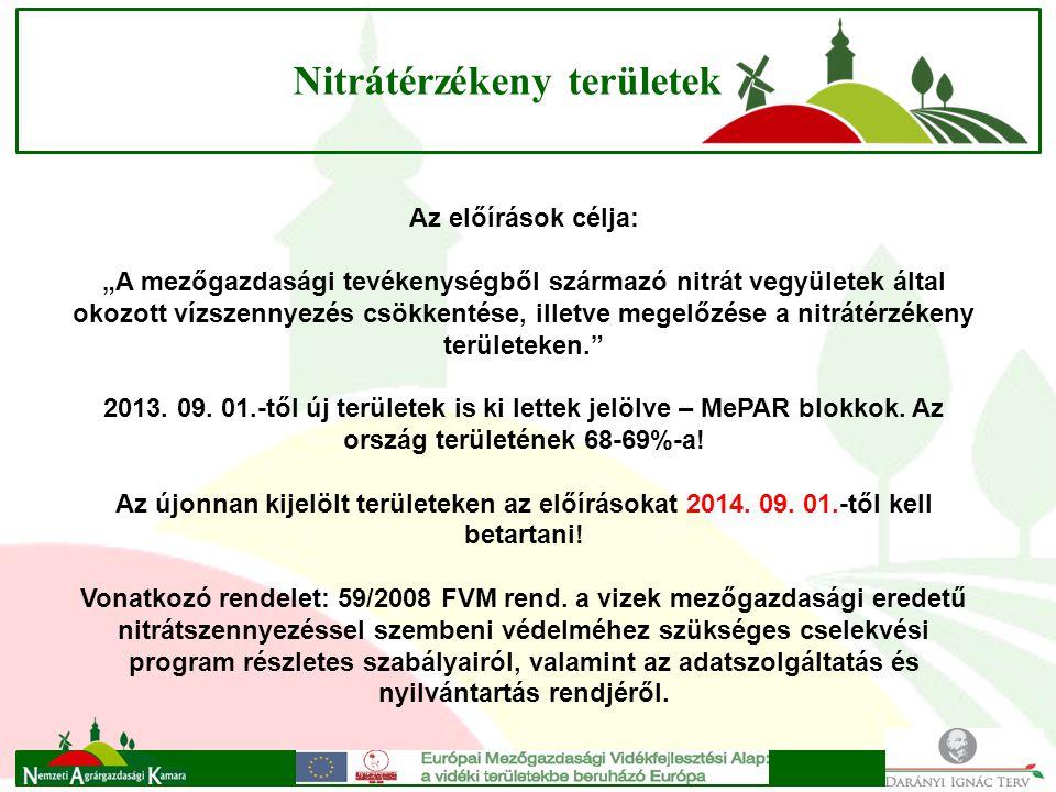 """Nitrátérzékeny területek Az előírások célja: """"A mezőgazdasági tevékenységből származó nitrát vegyületek által okozott vízszennyezés csökkentése, illetve megelőzése a nitrátérzékeny területeken. 2013."""
