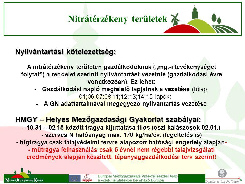 """Nitrátérzékeny területek Nyilvántartási kötelezettség: A nitrátérzékeny területen gazdálkodóknak (""""mg.-i tevékenységet folytat ) a rendelet szerinti nyilvántartást vezetnie (gazdálkodási évre vonatkozóan)."""