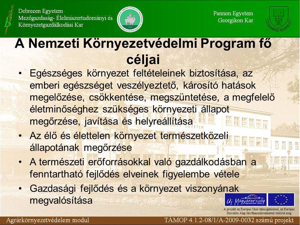 A Nemzeti Környezetvédelmi Program fő céljai Egészséges környezet feltételeinek biztosítása, az emberi egészséget veszélyeztető, károsító hatások megelőzése, csökkentése, megszüntetése, a megfelelő életminőséghez szükséges környezeti állapot megőrzése, javítása és helyreállítása Az élő és élettelen környezet természetközeli állapotának megőrzése A természeti erőforrásokkal való gazdálkodásban a fenntartható fejlődés elveinek figyelembe vétele Gazdasági fejlődés és a környezet viszonyának megvalósítása