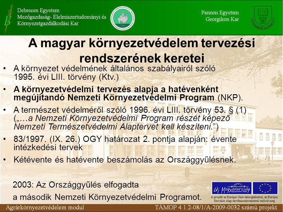 A magyar környezetvédelem tervezési rendszerének keretei A környezet védelmének általános szabályairól szóló 1995.