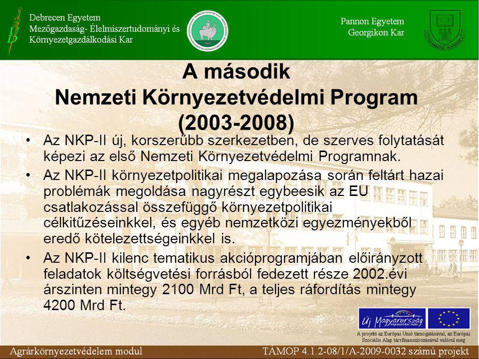 A második Nemzeti Környezetvédelmi Program (2003-2008) Az NKP-II új, korszerűbb szerkezetben, de szerves folytatását képezi az első Nemzeti Környezetvédelmi Programnak.