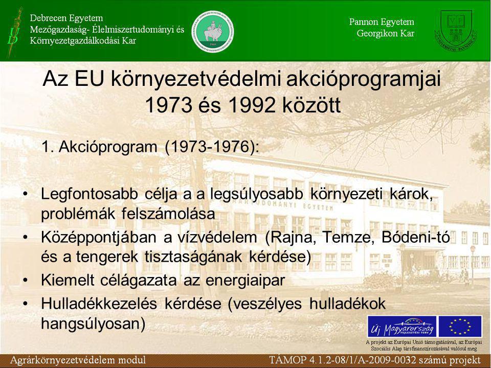 Közösségi Vívmányok (Acquis Communautaire) Átvételének Programja (ANP) környezetvédelmi hivatkozásai 1999-ben fogadta el a kormány, a 200-2002 időszakot foglalja magába A környezetvédelmi jogharmonizációt 2001-ig befejezni A környezetvédelmi intézményfejlesztést a jogharmonizációval összhangban valósítjuk meg A végrehajtás 2001 végéig teljesül a belső piaccal kapcsolatos jogszabályok területén, a határokon átterjedő szennyezések összefüggésében, új létesítményekre vonatkozóan PHARE és ISPA támogatások feltételeinek hatékony biztosítása