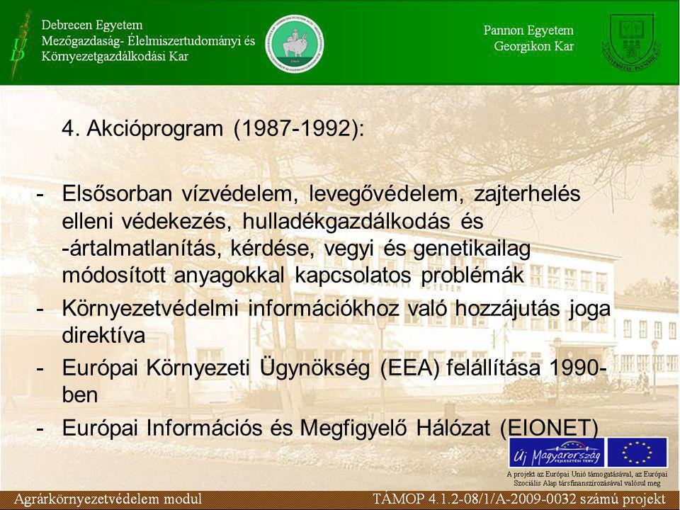 4. Akcióprogram (1987-1992): -Elsősorban vízvédelem, levegővédelem, zajterhelés elleni védekezés, hulladékgazdálkodás és -ártalmatlanítás, kérdése, ve