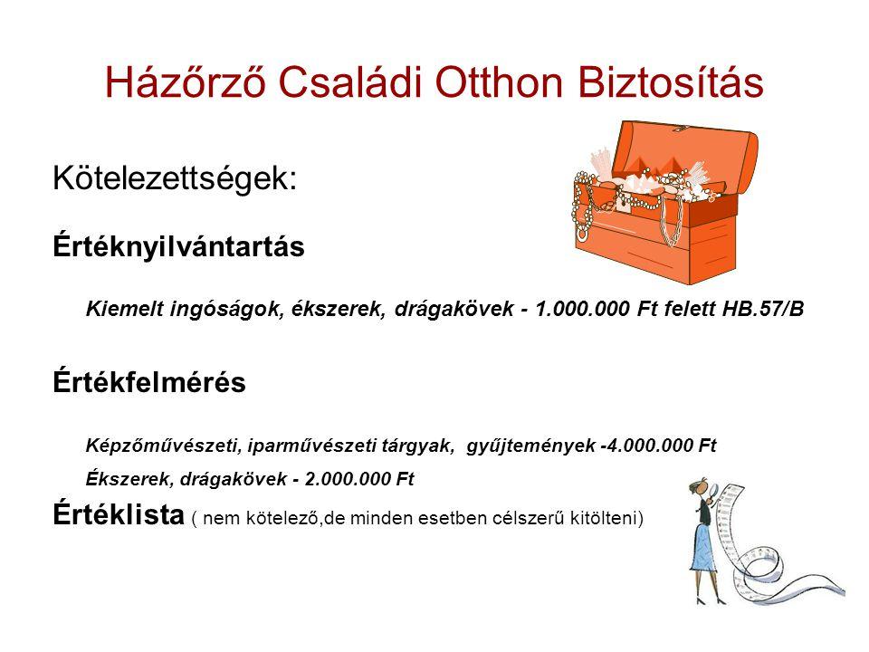 Házőrző Családi Otthon Biztosítás Kötelezettségek: Értéknyilvántartás Kiemelt ingóságok, ékszerek, drágakövek - 1.000.000 Ft felett HB.57/B Értékfelmérés Képzőművészeti, iparművészeti tárgyak, gyűjtemények -4.000.000 Ft Ékszerek, drágakövek - 2.000.000 Ft Értéklista ( nem kötelező,de minden esetben célszerű kitölteni)