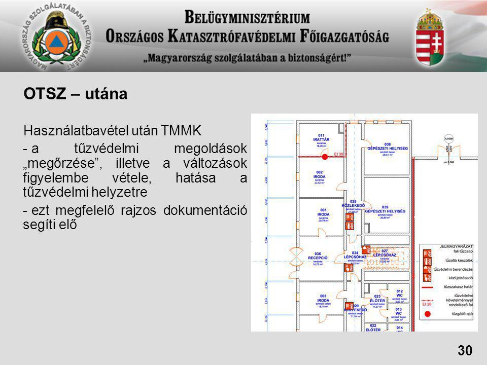 """OTSZ – utána Használatbavétel után TMMK - a tűzvédelmi megoldások """"megőrzése , illetve a változások figyelembe vétele, hatása a tűzvédelmi helyzetre - ezt megfelelő rajzos dokumentáció segíti elő 30"""