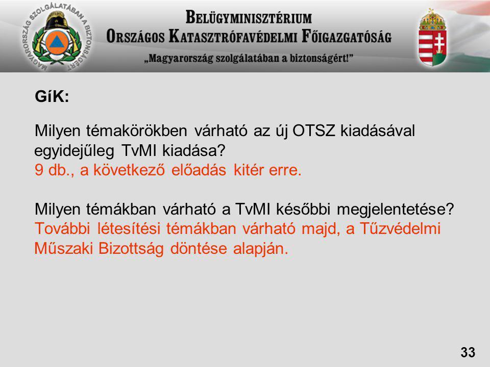 GíK: Milyen témakörökben várható az új OTSZ kiadásával egyidejűleg TvMI kiadása.
