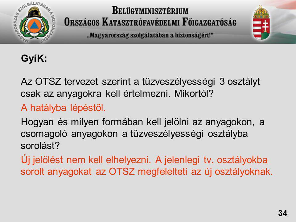 GyíK: Az OTSZ tervezet szerint a tűzveszélyességi 3 osztályt csak az anyagokra kell értelmezni.