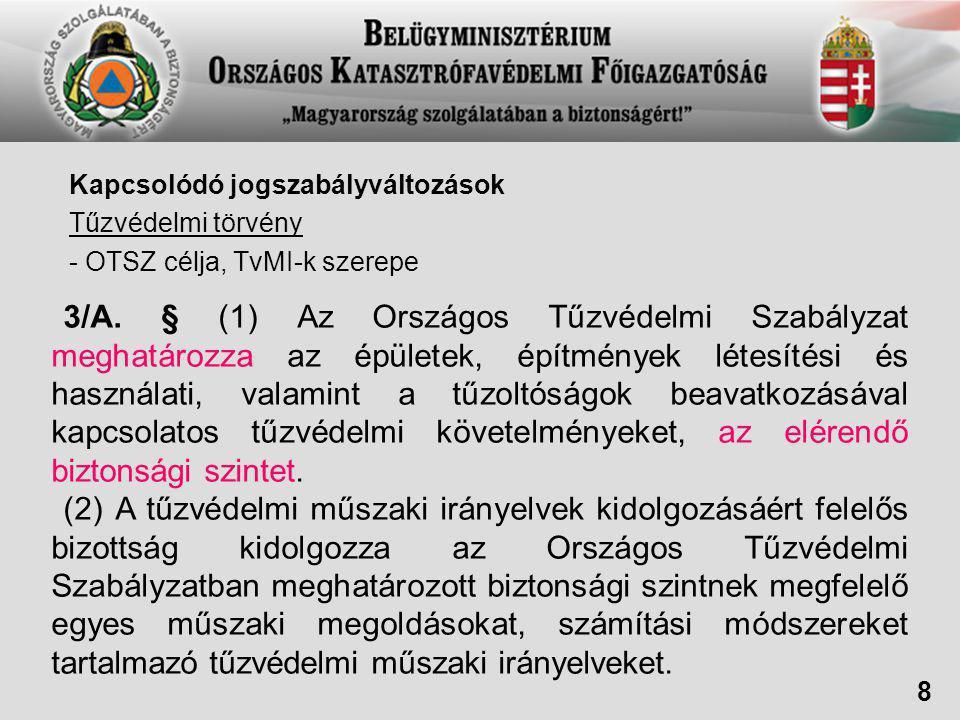 Kapcsolódó jogszabályváltozások Tűzvédelmi törvény - OTSZ célja, TvMI-k szerepe 3/A.