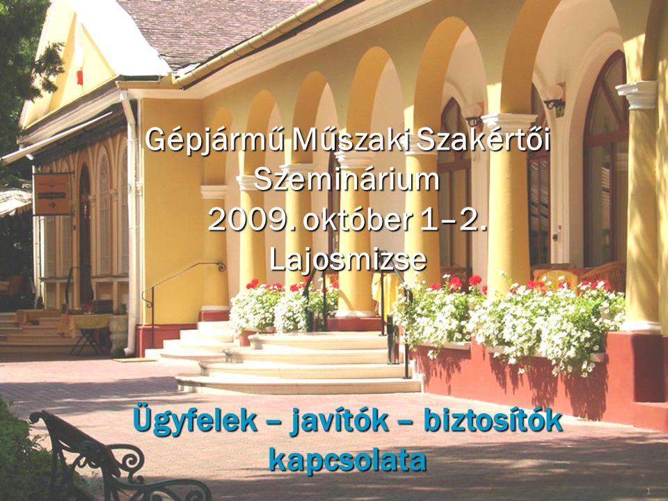 Gépjármű Műszaki Szakértői Szeminárium 2009. október 1–2. Lajosmizse Ügyfelek – javítók – biztosítók kapcsolata 1