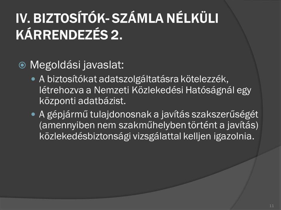 IV. BIZTOSÍTÓK- SZÁMLA NÉLKÜLI KÁRRENDEZÉS 2.  Megoldási javaslat: A biztosítókat adatszolgáltatásra kötelezzék, létrehozva a Nemzeti Közlekedési Hat