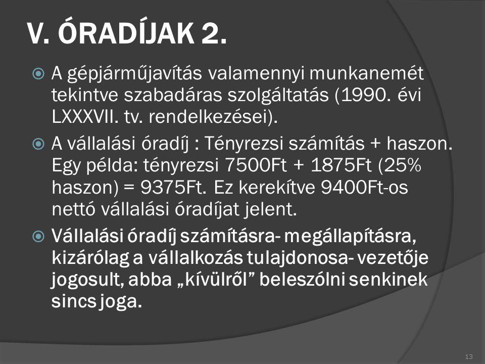 V. ÓRADÍJAK 2.  A gépjárműjavítás valamennyi munkanemét tekintve szabadáras szolgáltatás (1990. évi LXXXVII. tv. rendelkezései).  A vállalási óradíj