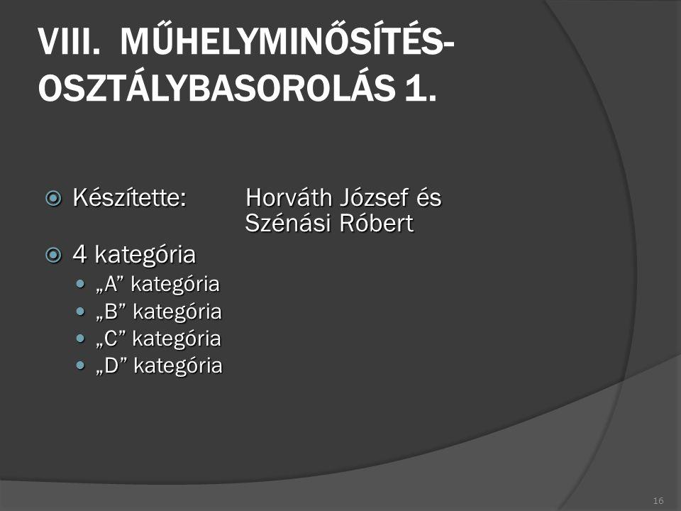 """VIII. MŰHELYMINŐSÍTÉS- OSZTÁLYBASOROLÁS 1.  Készítette:Horváth József és Szénási Róbert  4 kategória """"A"""" kategória """"A"""" kategória """"B"""" kategória """"B"""" k"""