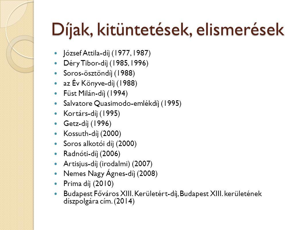 Díjak, kitüntetések, elismerések József Attila-díj (1977, 1987) Déry Tibor-díj (1985, 1996) Soros-ösztöndíj (1988) az Év Könyve-díj (1988) Füst Milán-
