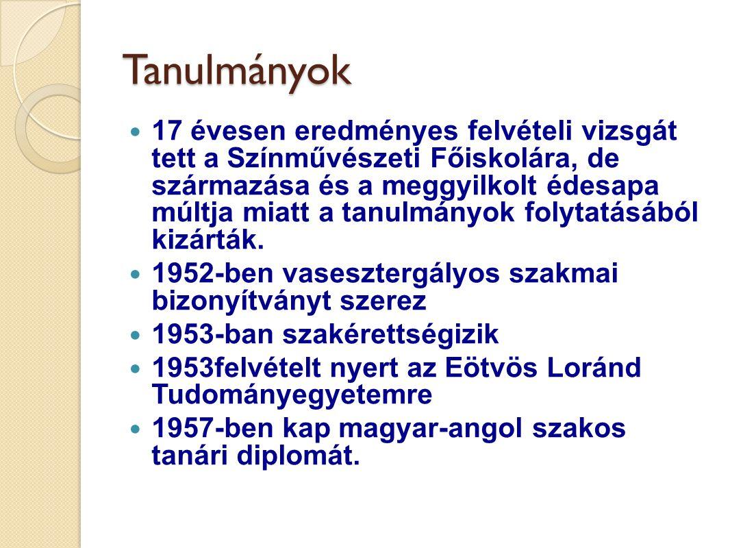 Az írás Hat esztendeig Újpesten tanít Műfordításokat készít Verseket ír Első verseskötetét (Ajtófélfámon jel vagy) 1963-ban adta ki a Magvető.