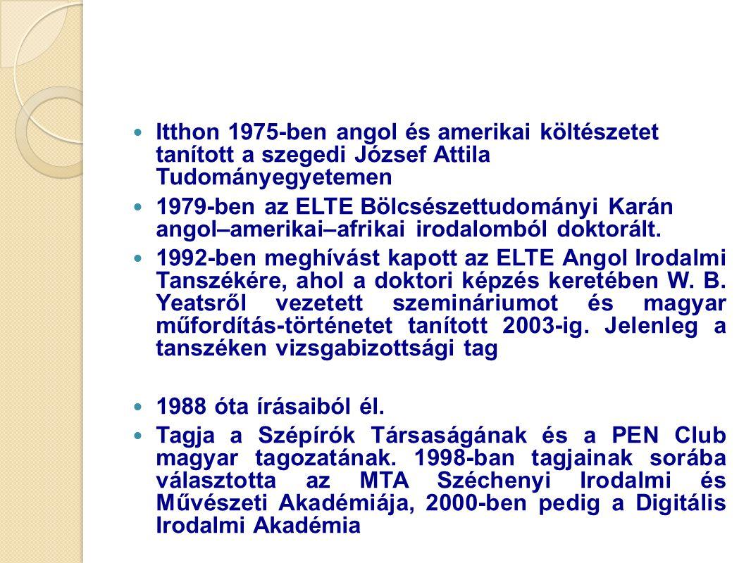 Itthon 1975-ben angol és amerikai költészetet tanított a szegedi József Attila Tudományegyetemen 1979-ben az ELTE Bölcsészettudományi Karán angol–amer