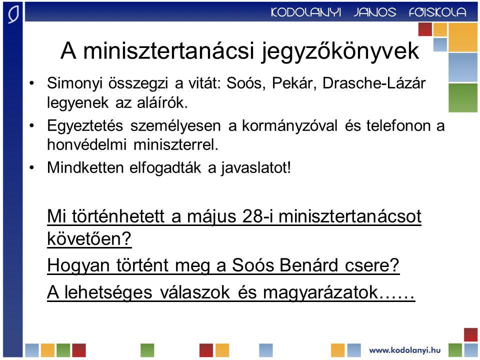 A minisztertanácsi jegyzőkönyvek Simonyi összegzi a vitát: Soós, Pekár, Drasche-Lázár legyenek az aláírók. Egyeztetés személyesen a kormányzóval és te