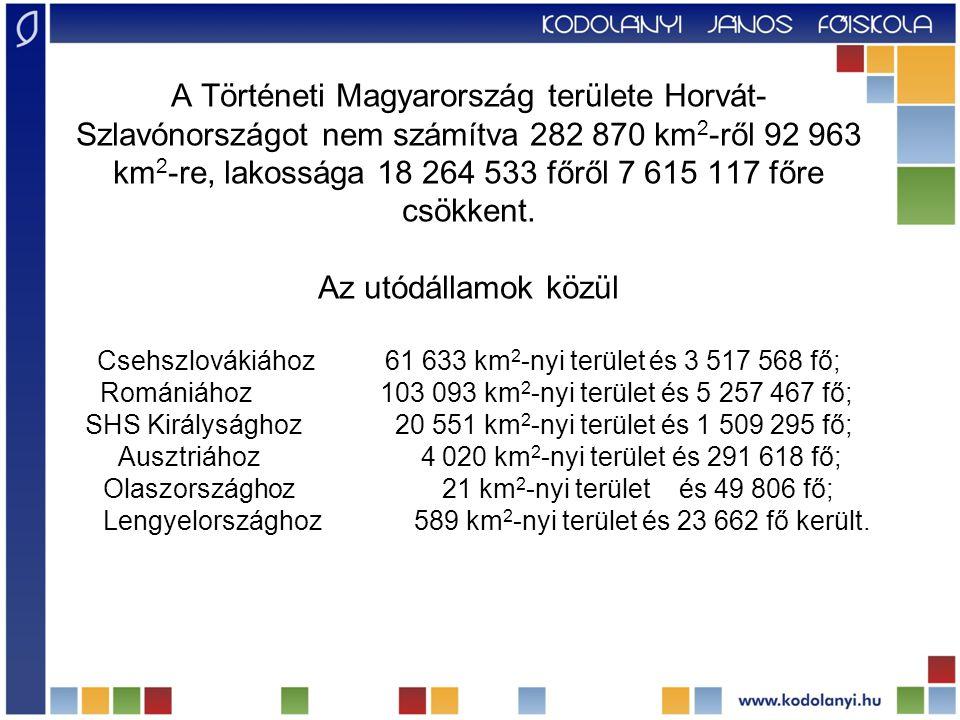 A Történeti Magyarország területe Horvát- Szlavónországot nem számítva 282 870 km 2 -ről 92 963 km 2 -re, lakossága 18 264 533 főről 7 615 117 főre cs