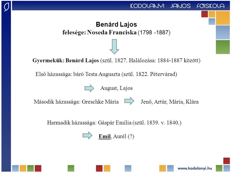Benárd Lajos felesége: Noseda Franciska (1798 -1887) Gyermekük: Benárd Lajos (szül. 1827. Halálozása: 1884-1887 között) Első házassága: báró Testa Aug