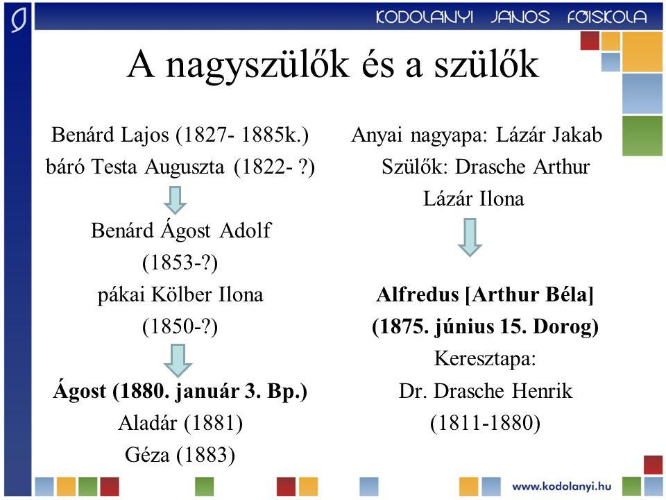 A nagyszülők és a szülők Benárd Lajos (1827- 1885k.) báró Testa Auguszta (1822- ?) Benárd Ágost Adolf (1853-?) pákai Kölber Ilona (1850-?) Ágost (1880