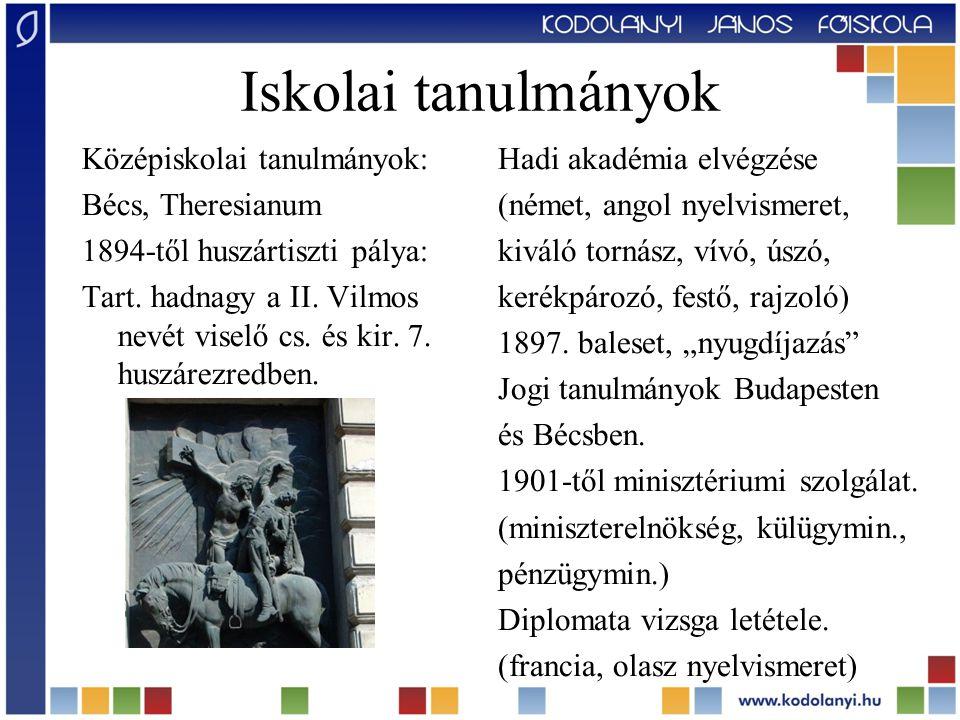 Középiskolai tanulmányok: Bécs, Theresianum 1894-től huszártiszti pálya: Tart. hadnagy a II. Vilmos nevét viselő cs. és kir. 7. huszárezredben. Hadi a