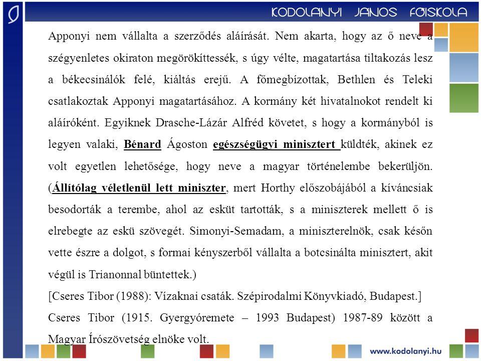 """""""Magyarnak rettenetesebb feladat nem jutott még, mint amit Drasche-Lázár Alfréd követ és Benárd Ágoston népjóléti miniszter kaptak osztályrészül."""