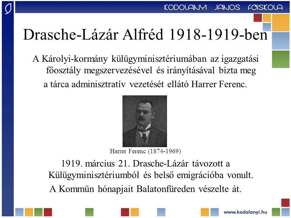 Drasche-Lázár Alfréd 1918-1919-ben A Károlyi-kormány külügyminisztériumában az igazgatási főosztály megszervezésével és irányításával bízta meg a tárc